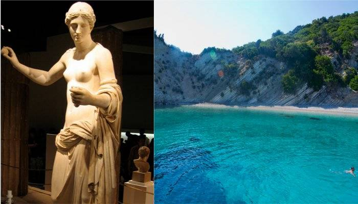 aphrodite statue and kefalonia beach