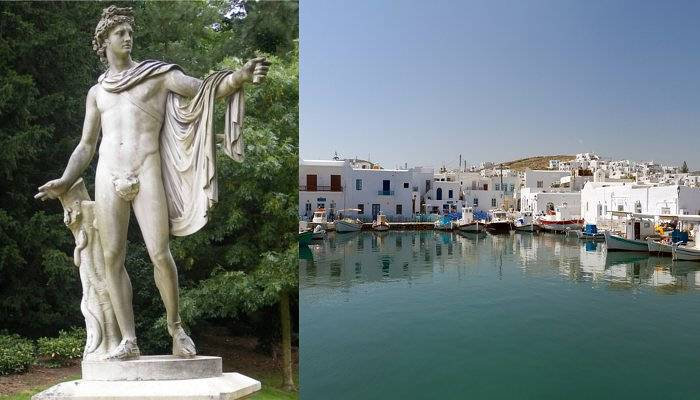 apollo statue and paros waterfront