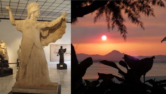 athena statue and lemnos beach sunset