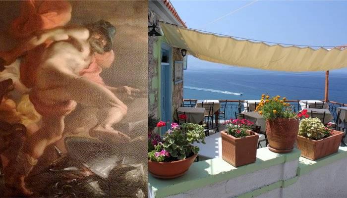 hades painting and lesvos view