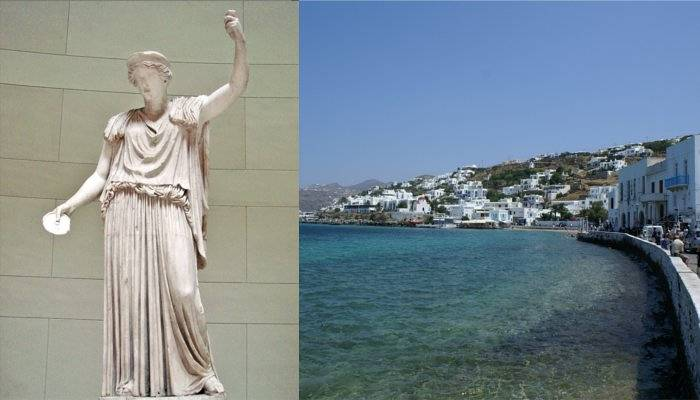 hera statue and mykonos waterfront