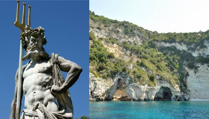 poseidon statue and paxos blue caves