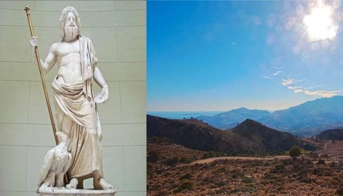 zeus statue and crete panorama