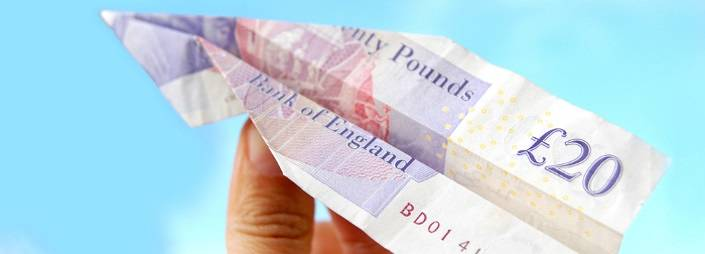 Paper plane from £20 note