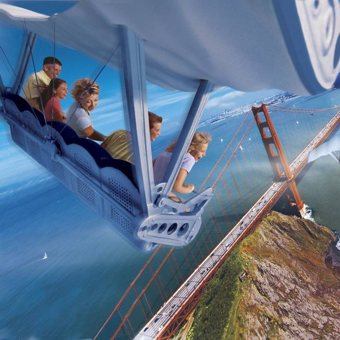 Riders appear to soar over San Francisco on a rollercoaster ride