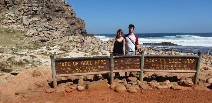 Author having a bad hair day at Cape of Good Hope