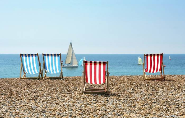 Brighton deck chairs and boats