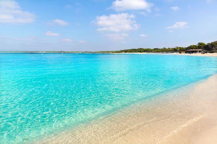 Beautiful blue sea of Es Trenc