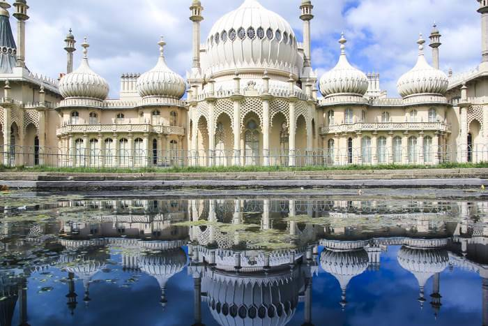 Brighton Pavilion's onion domes with reflection