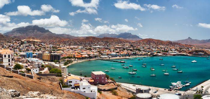 View of town of Mindelo