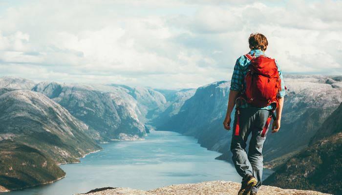 man travelling in scandinavia