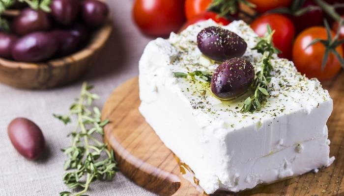 picture of feta cheese in greece
