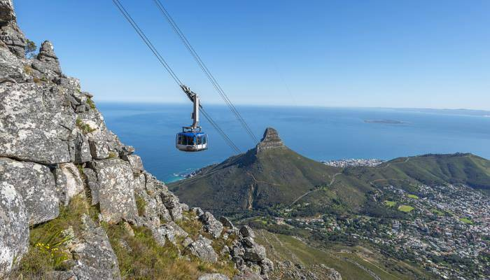 picture of the cable car on Table Mountain