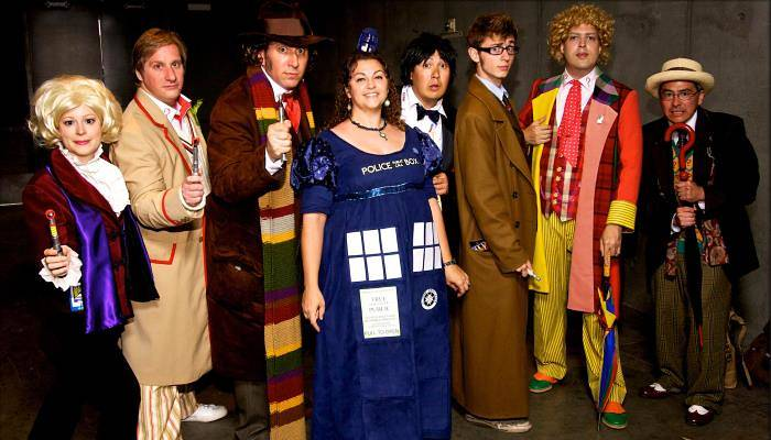 a picture of people dressed as Dr Who
