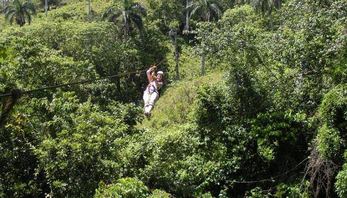 picture of a person ziplining in Punta Cana