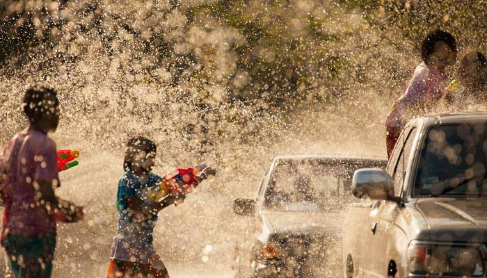 a picture of a water fight