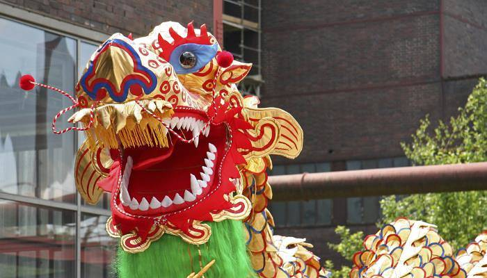 a picture of a dragon dancing