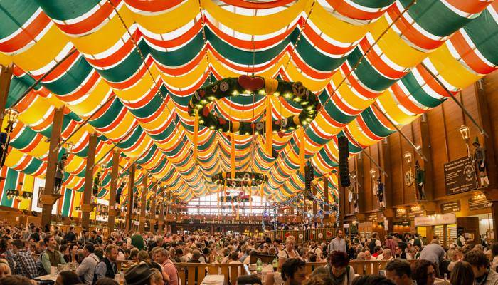 a picture of a hall at Oktoberfest